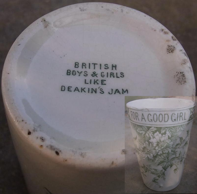 Victorian beaker advertising Deakin's Jams