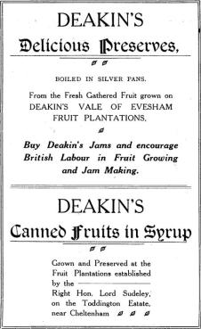 Deakin's Jam 1900s advert Toddington Estate
