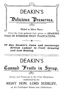 Deakin's advert from the 1900s, preserves , jams, Vale of Evesham